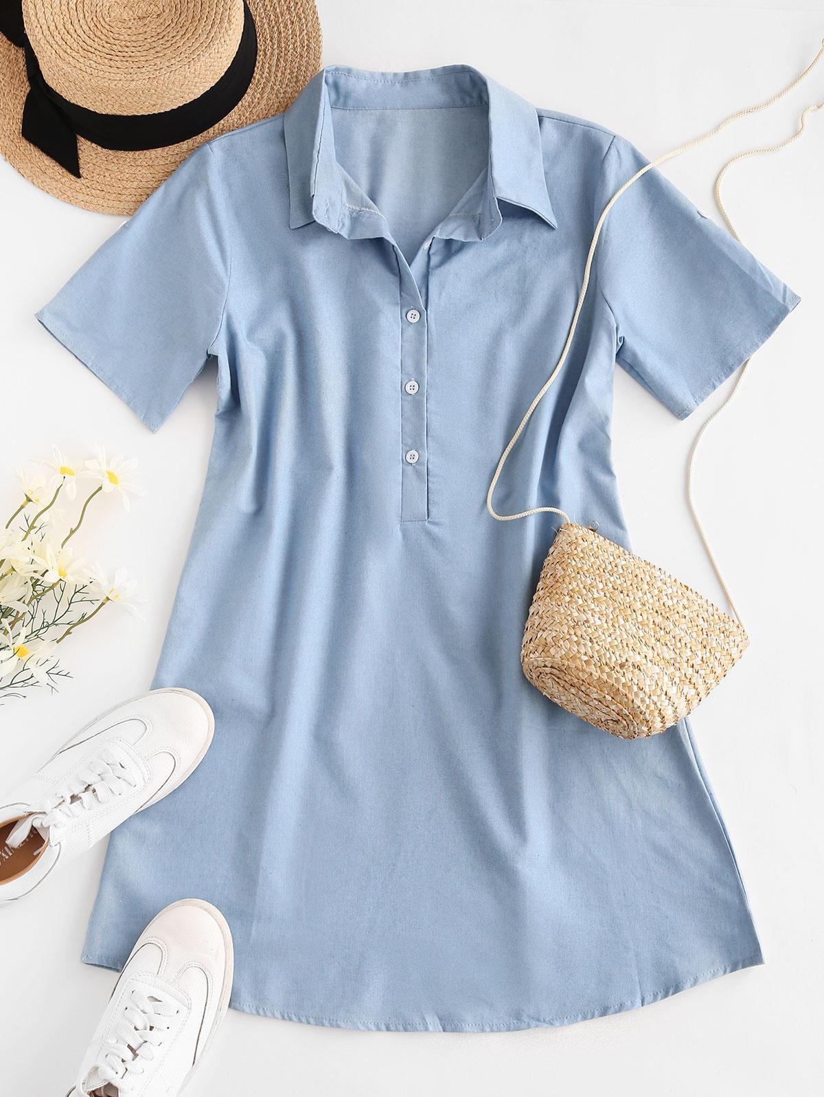 Chambray Placket Button Tab Sleeve Shirt Dress