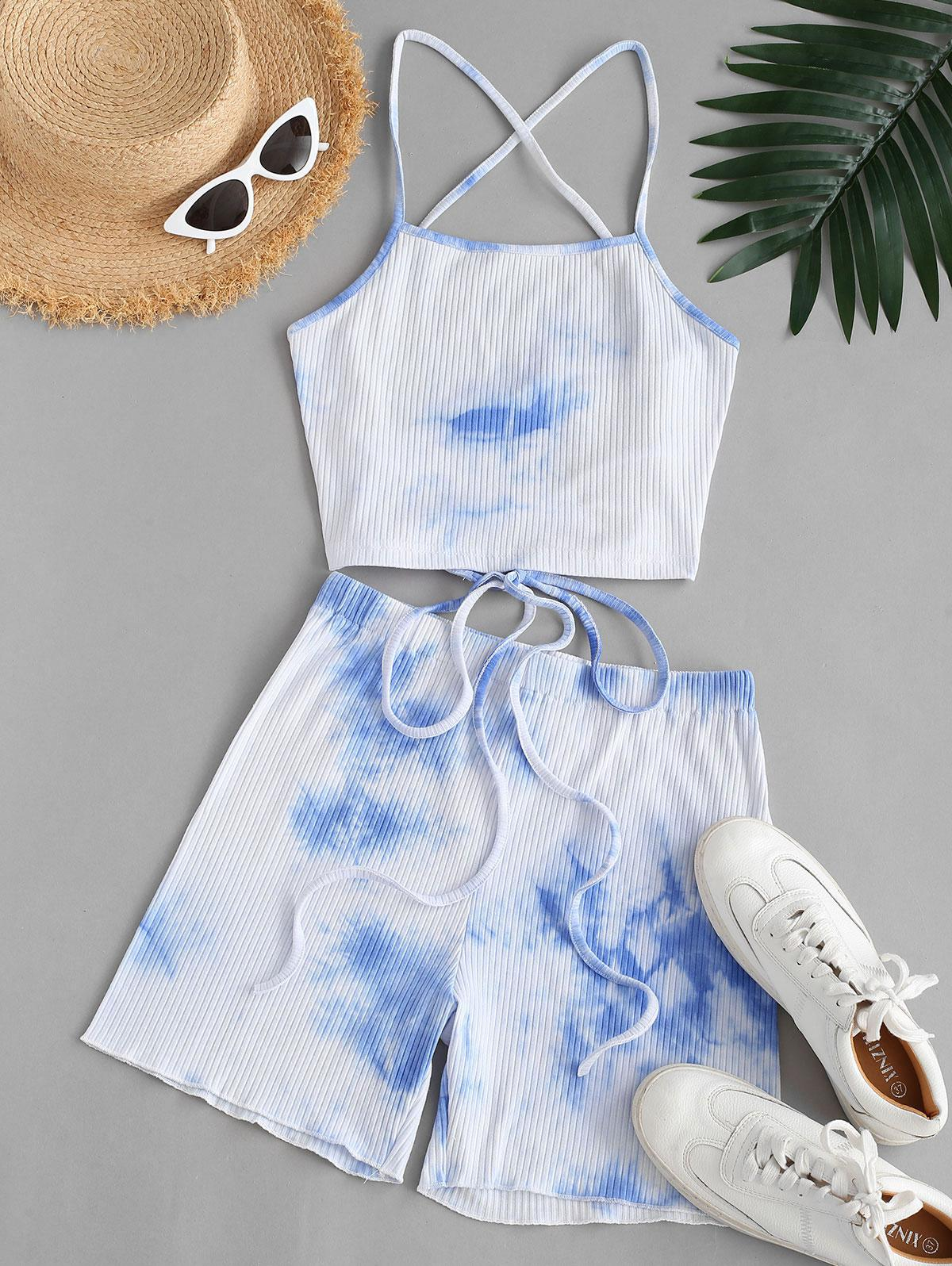 Ribbed Tie Dye Lace-up Two Piece Shorts Set