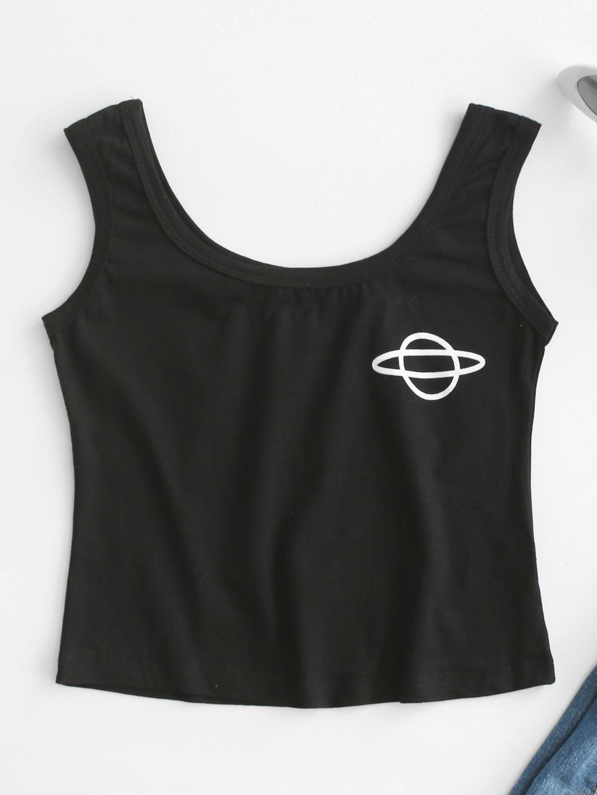 Cropped Planet Graphic Tank Top