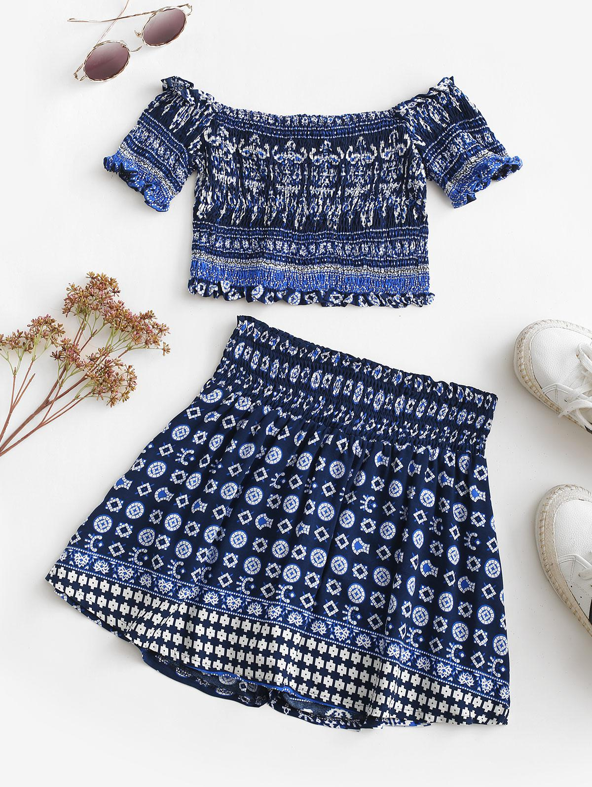 Bohemian Smocked Off Shoulder Skort Set