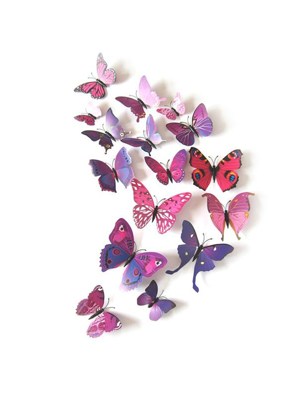 12Pcs 3D Butterfly Removable Refrigerator Magnet Set