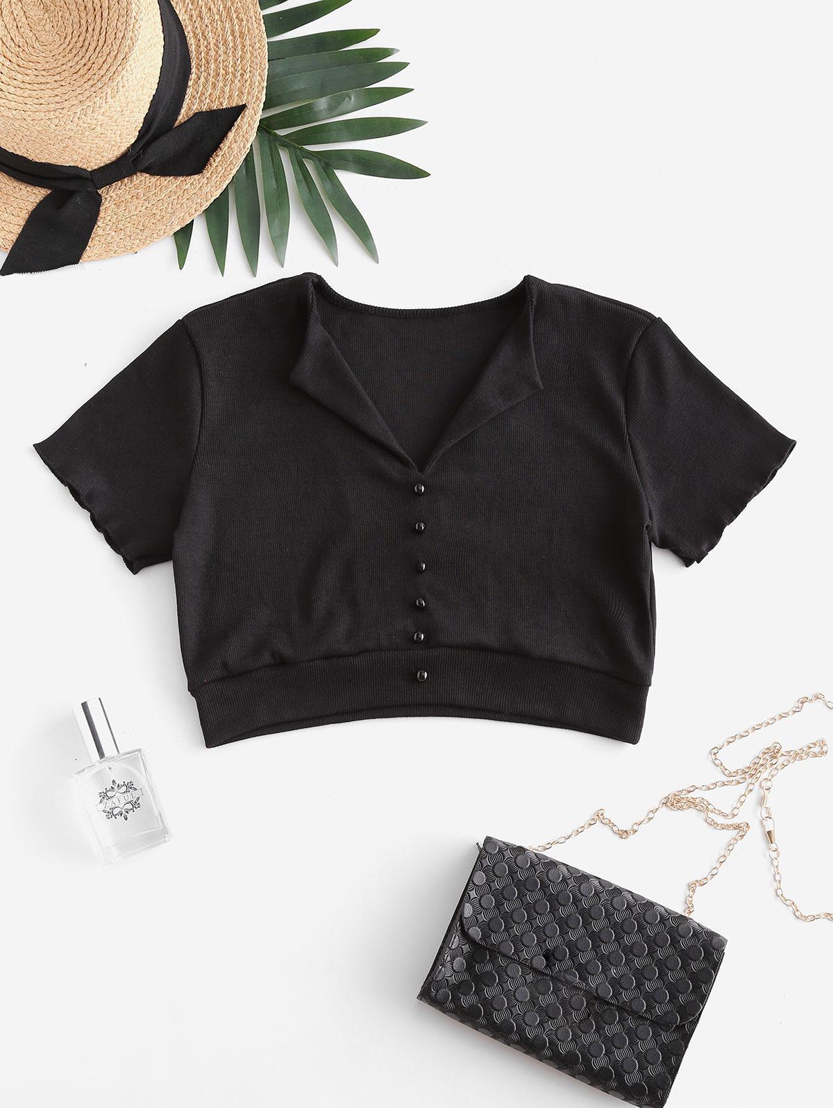 Ribbed Mock Button Crop T-shirt