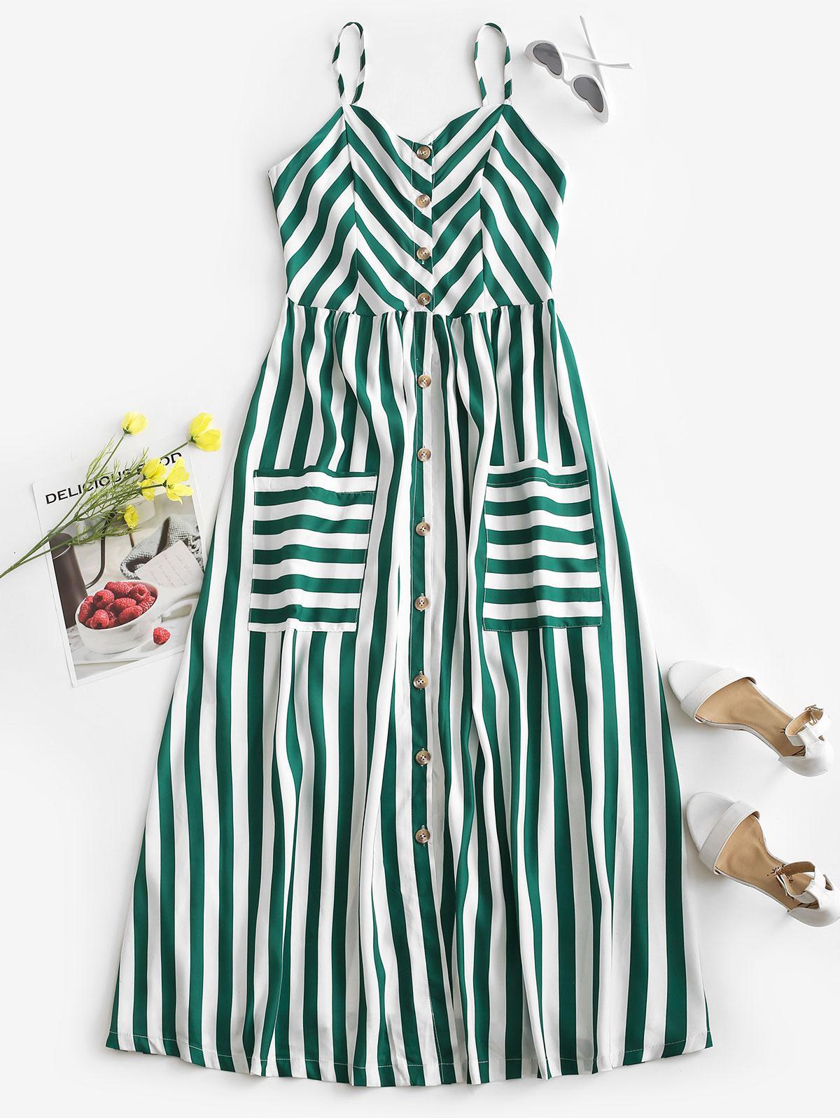 Striped Button Through Pocket Cami Dress