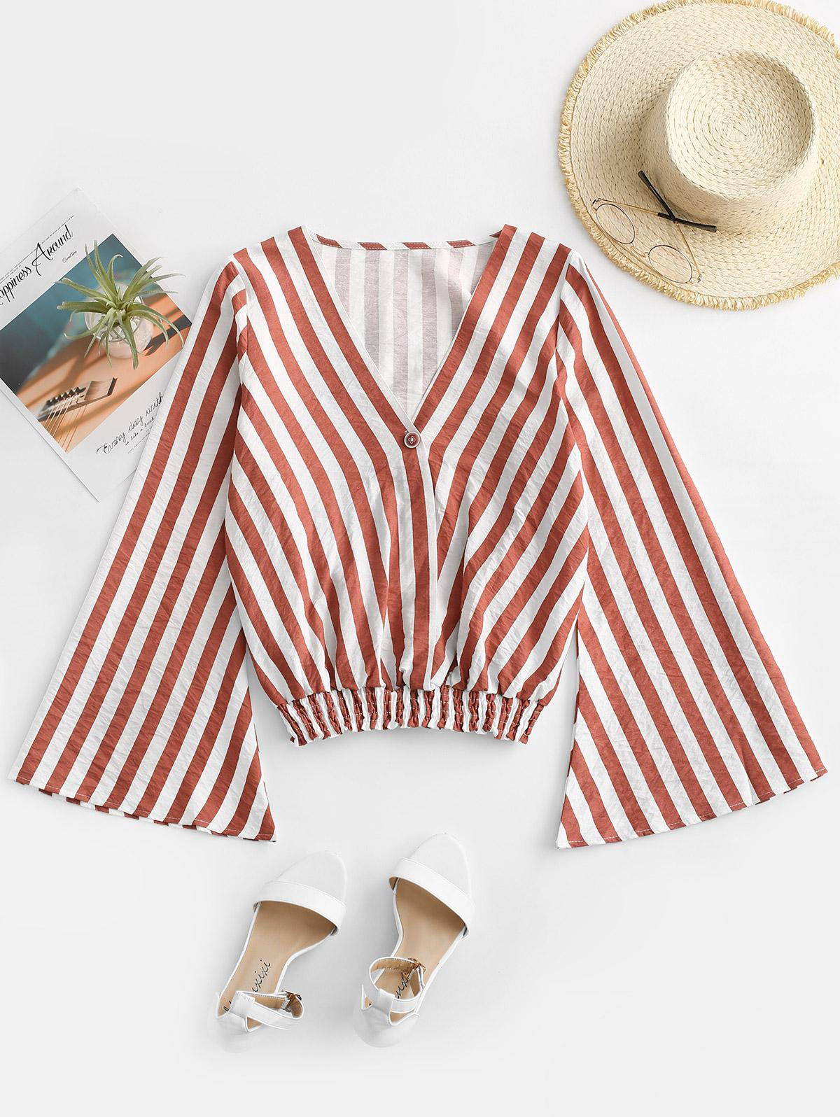 Striped Flare Sleeve Plunging Blouse