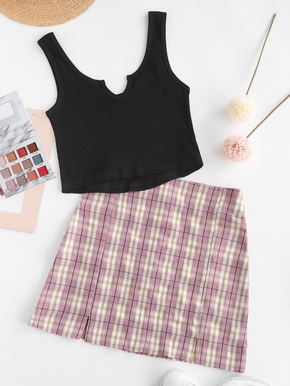Ribbed Plaid Slit Notched Mini Skirt Set