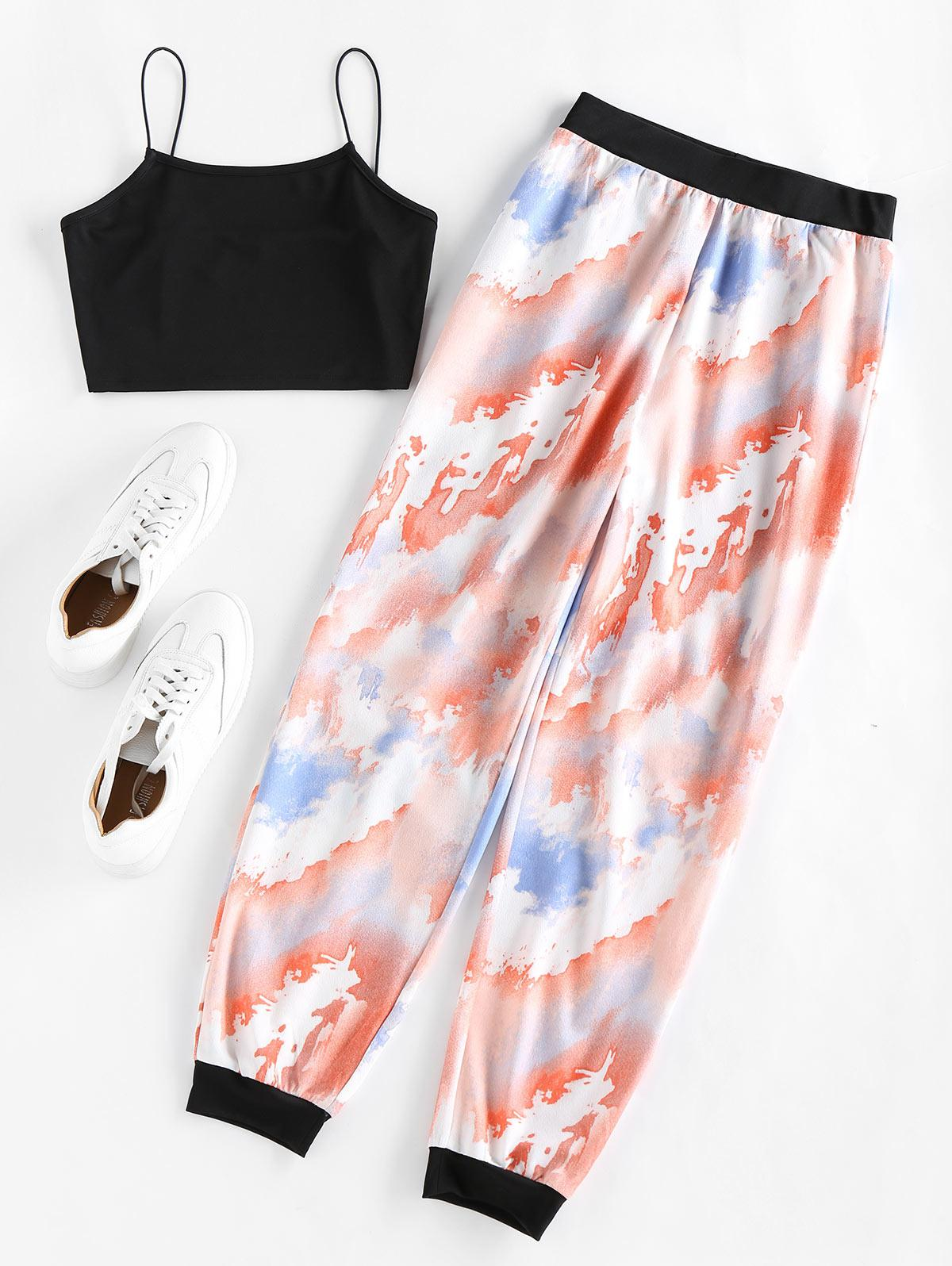 ZAFUL Cropped Camisole and Tie Dye Pants Set