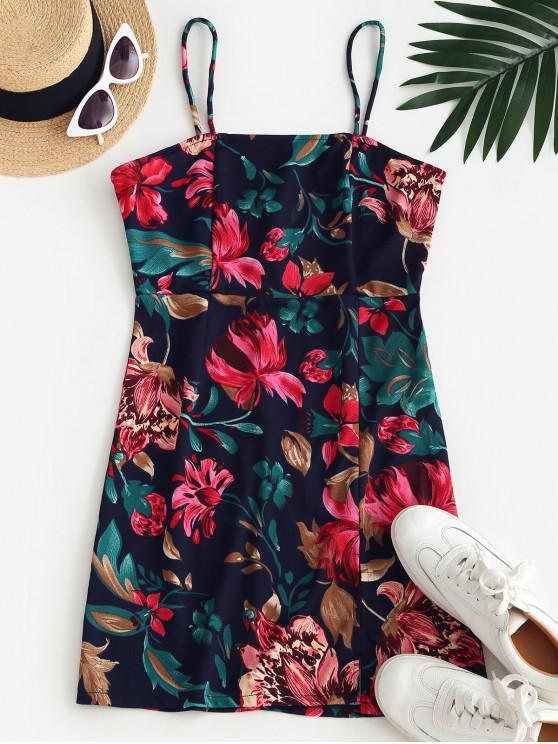 affordable Cami Floral Front Slit Mini Dress - DEEP BLUE M
