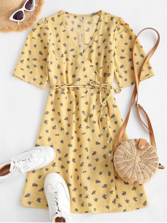 outfit Button Up Tie Waist Ditsy Floral Dress - LIGHT YELLOW L