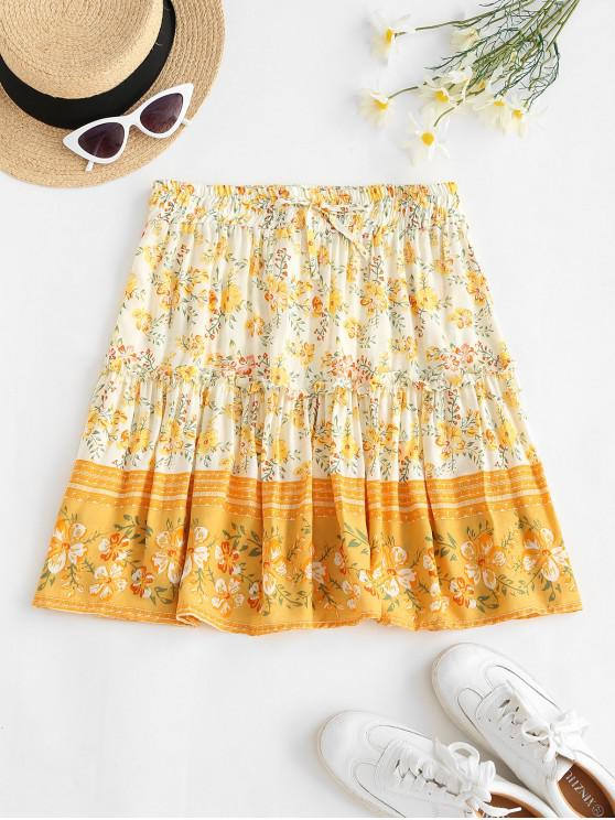 latest Drawstring Bohemian Floral Mini Dress - LIGHT YELLOW S