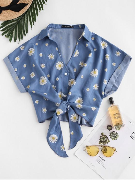 outfits ZAFUL Daisy Floral Chambray Knot Cuff Sleeve Blouse - BLUE S