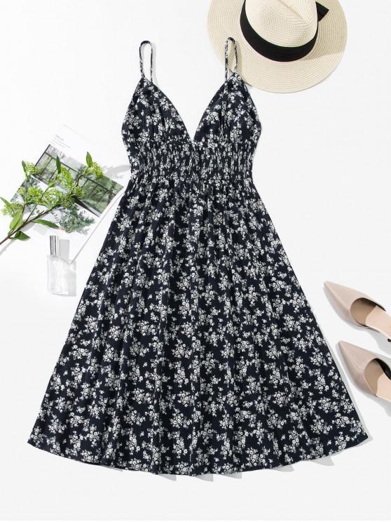 women ZAFUL Smocked Back Ditsy Floral Cami Dress - CADETBLUE XL