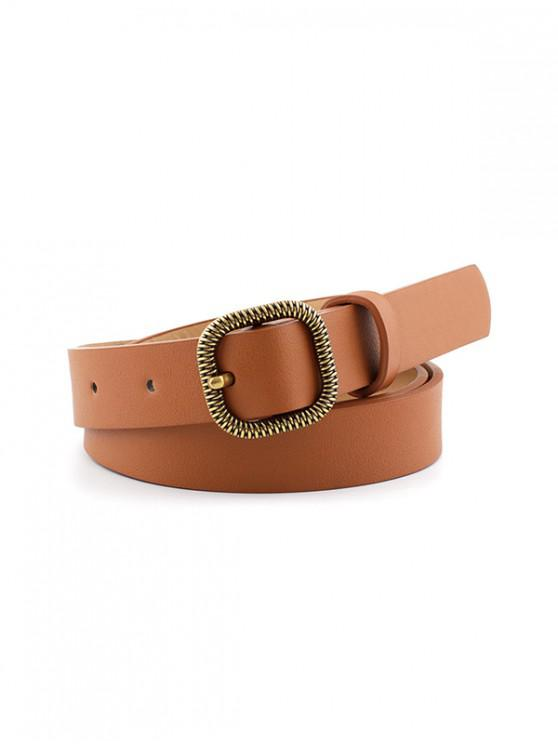 womens Retro Jeans Engraved Square Buckle Belt - LIGHT BROWN