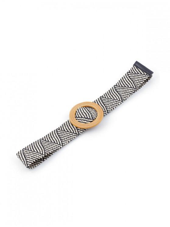 Braided Round Buckle Elastic Dress Waist Belt - متعددة-A