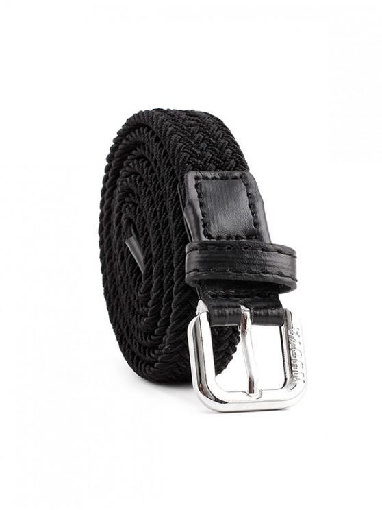 ladies Braided Elastic Casual Canvas Belt - BLACK