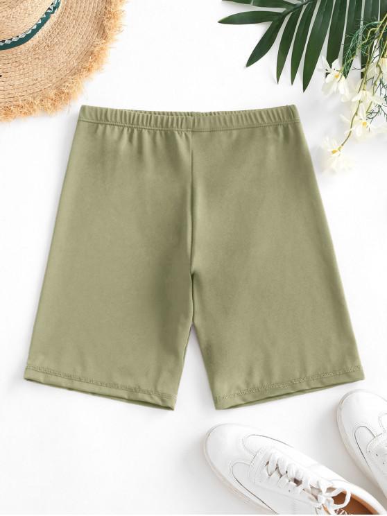 women High Waisted Stretchy Biker Shorts - DEEP GREEN L