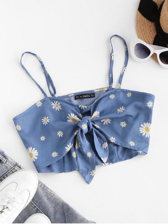 sale ZAFUL Daisy Floral Tie Chambray Crop Cami Top - BLUE M