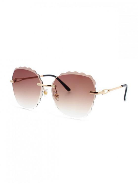 buy Scalloped Edge Rimless Sunglasses - BROWN SUGAR