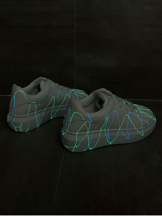 women Splatter Design Luminous PU Leather Skate Shoes - SILVER EU 37