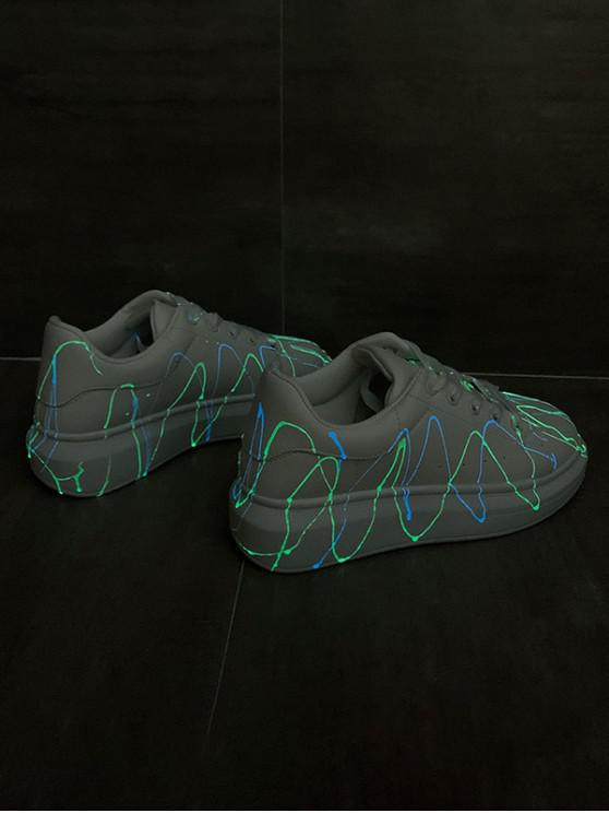 women's Splatter Design Luminous PU Leather Skate Shoes - SILVER EU 38