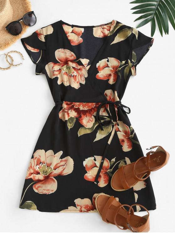 affordable Flutter Sleeve Floral Wrap Mini Dress - BLACK M