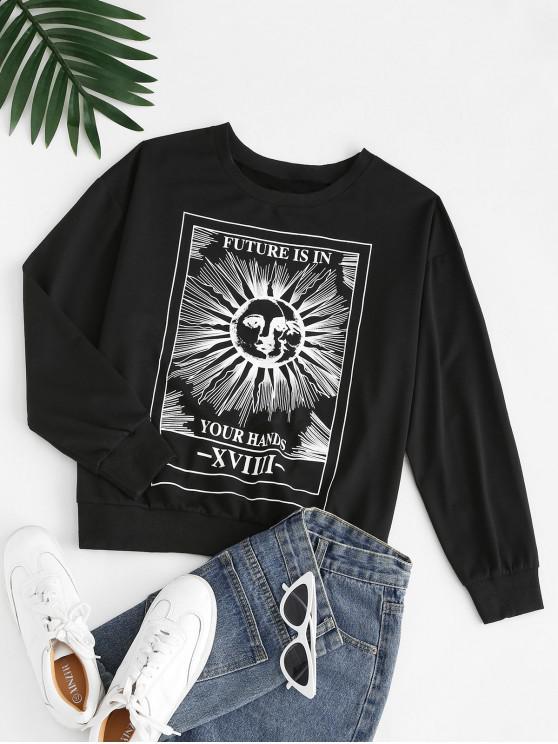 new Sun Slogan Print Drop Shoulder Sweatshirt - BLACK S