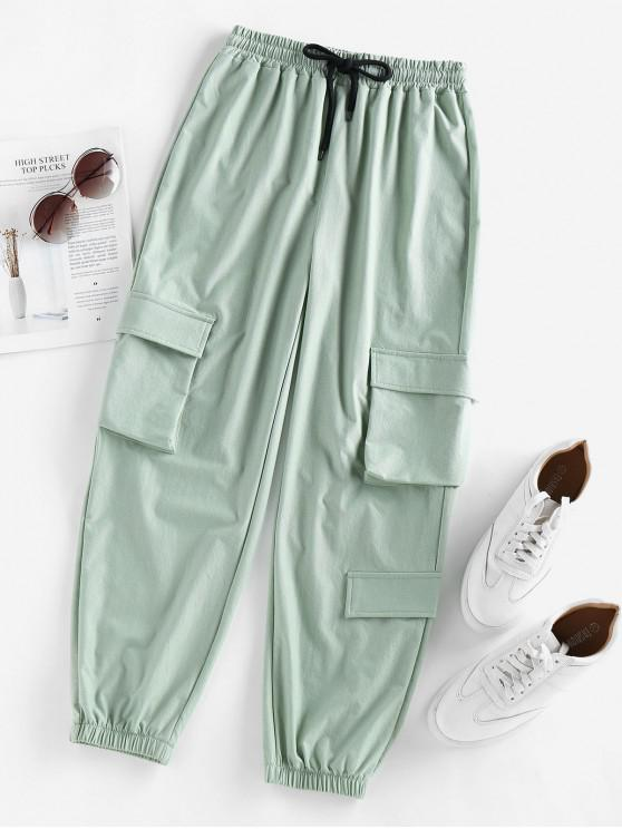 lady ZAFUL Drawstring High Waisted Jogger Cargo Pants - LIGHT GREEN S