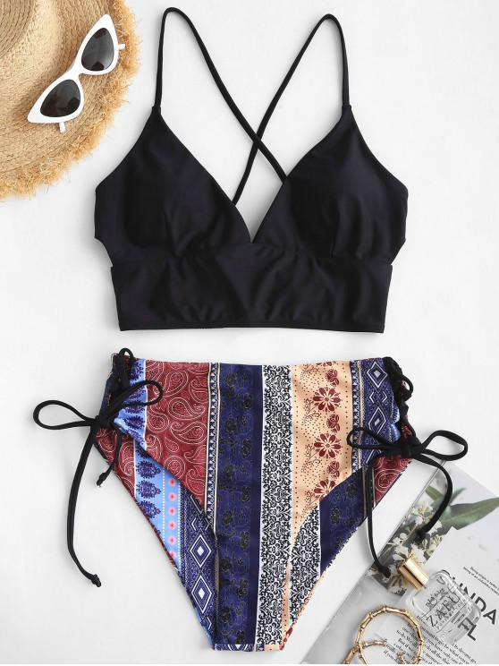 shops ZAFUL Bohemian Lace Up High Waisted Tankini Swimsuit - BLACK L