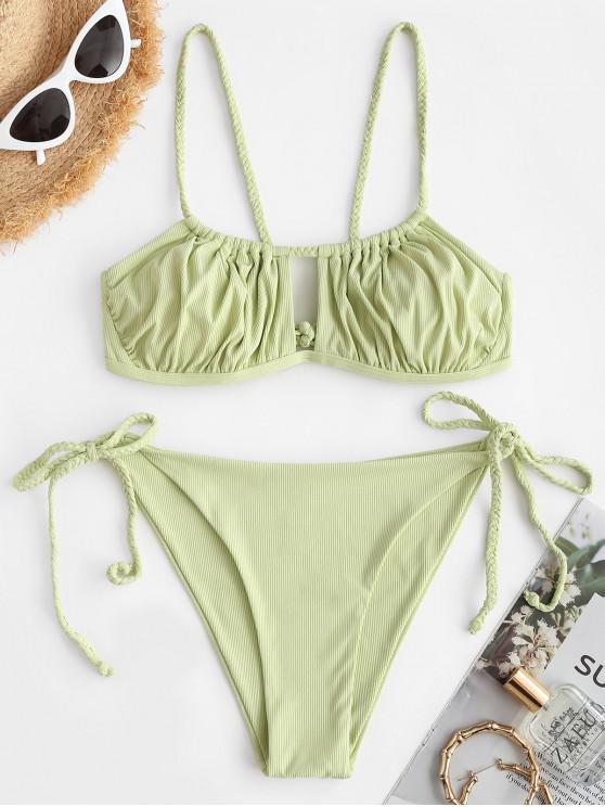 ZAFUL Geflochtene Gerippte Bikini Badebekleidung mit Ausschnitt - Hellgrün L