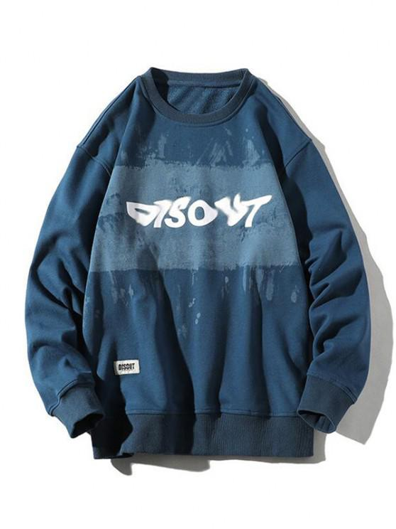 Sweat-shirt Lettre Graphique Peinture - Ardoise bleue foncée XL