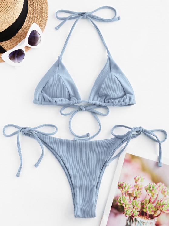 ladies ZAFUL Ribbed Tie Halter String Bikini Swimsuit - LIGHT BLUE S
