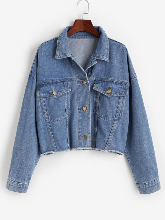 latest Flap Detail Frayed Hem Denim Jacket - BLUE M