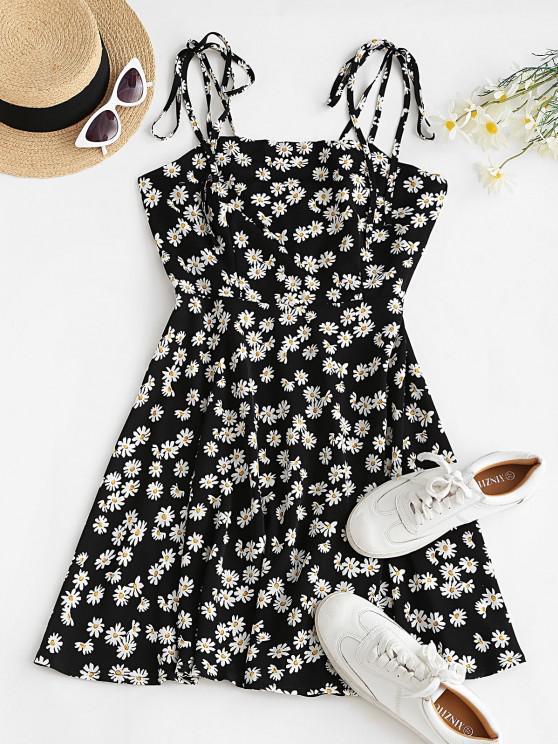 chic Tie Shoulder Mini Daisy Print Dress - BLACK M