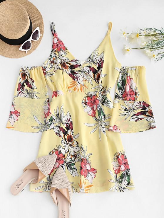 fancy Floral Cold Shoulder Surplice Dress - LIGHT YELLOW S