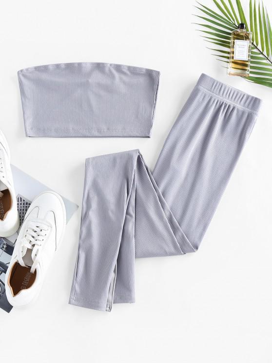 Conjunto de jaqueta e calça com Nervuras e Fecho Lateral - Cinza claro S