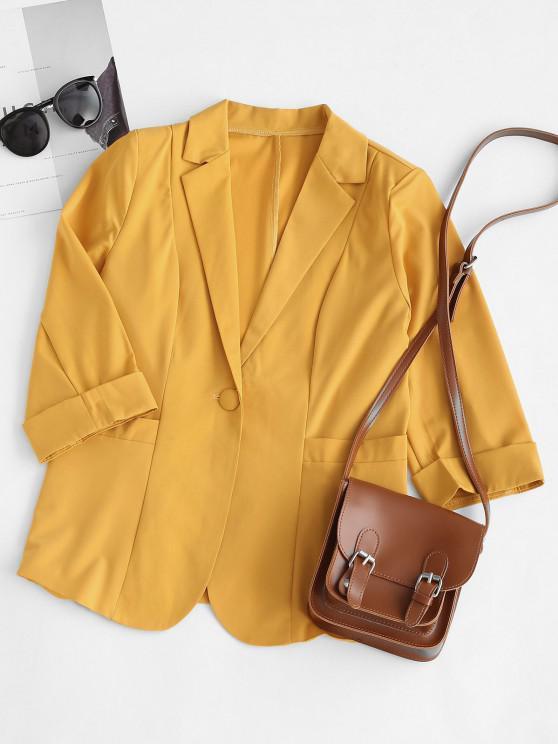 Rolled Cuff Pocket One Button Blazer - الأصفر XL