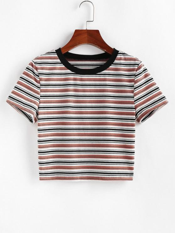 affordable ZAFUL Striped Ribbed Crop T-shirt - MULTI-D S