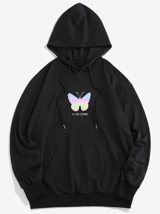 womens Colorful Butterfly Print Kangaroo Pocket Drawstring Hoodie - BLACK 2XL