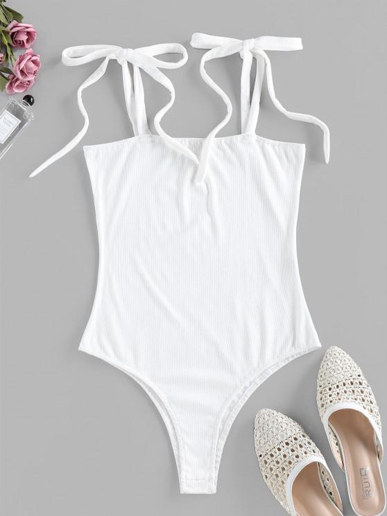 shop ZAFUL Snap Button Tie Shoulder Ribbed Bodysuit - MILK WHITE S