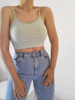 Lace Trim Ribbed Crop Cami Top - Cyan Opaque M