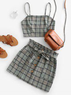 Plaid Smocked Buttons Belted Two Piece Suit - Green L