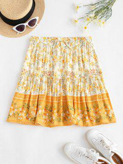 Drawstring Bohemian Floral Mini Dress - Light Yellow L