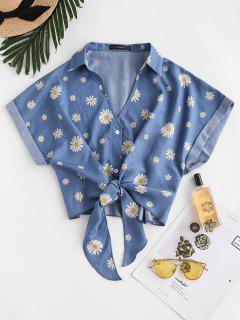 ZAFUL Blusa De Nudo Chambray Con Estampado Floral - Azul S