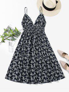 ZAFUL Smocked Back Ditsy Floral Cami Dress - Cadetblue S
