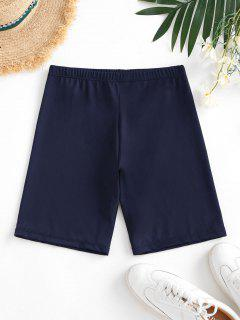 High Waisted Stretchy Biker Shorts - Deep Blue M