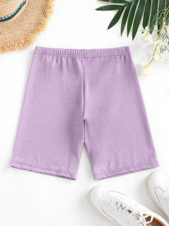 High Waisted Stretchy Biker Shorts - Light Purple M