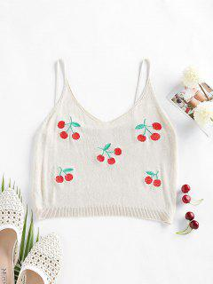 ZAFUL Cherry Embroidered Cami Sleeveless Sweater - Light Coffee M