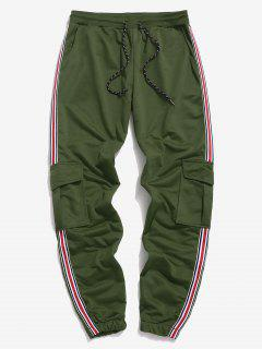 Side Striped Drawstring Flap Pockets Cargo Pants - Green 2xl