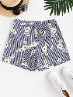 High Waisted Daisy Stripes Tie Shorts - Deep Blue L