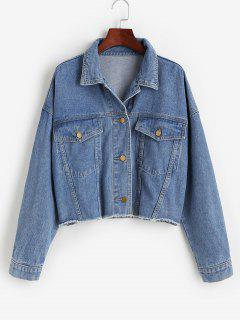 Flap Detail Frayed Hem Denim Jacket - Blue M