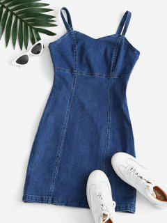 Mini Robe Moulante Cœur En Denim - Bleu Clair M